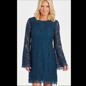 Evereve Lace Dress with flair sleeve Size M